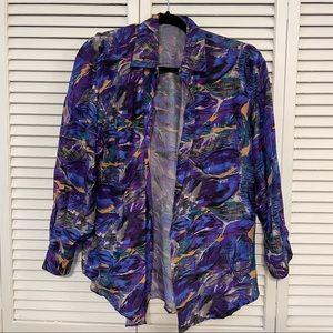 Kikomo Purple Button Down Shirt 100% Silk